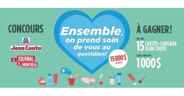 Concours Gagnez l'une des 15 cartes-cadeaux Jean Coutu d'une valeur de 1000$ chacune!