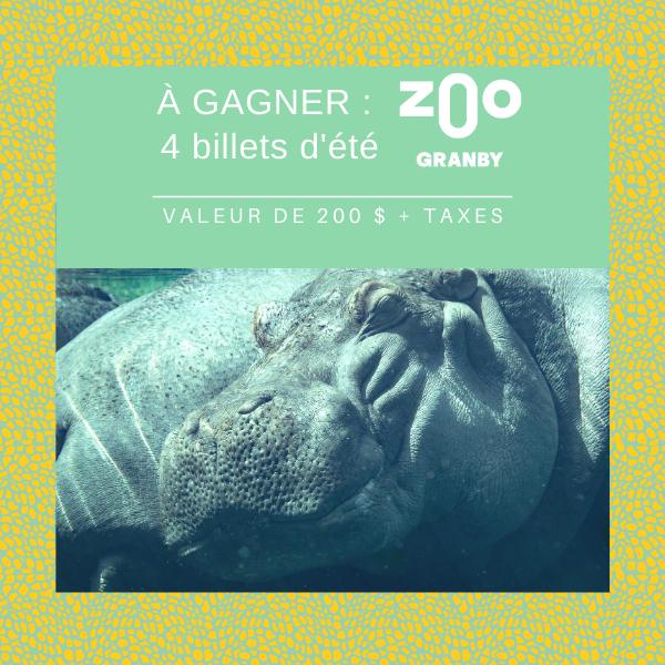 Concours Gagnez 4 Billets pour le Zoo de Granby