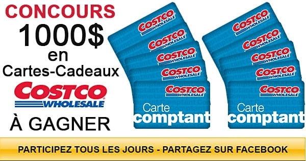 Concours 1000$ en Cartes-Cadeaux Costco à Gagner