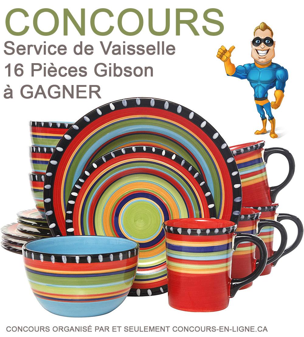 CONCOURS EXCLUSIF - Concours Service de Vaisselle 16 Pièces Gibson à Gagner