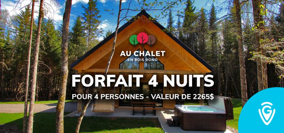 Concours Gagnez un Forfait de 4 Nuits pour 4 Personnes Au Chalet en Bois Rond