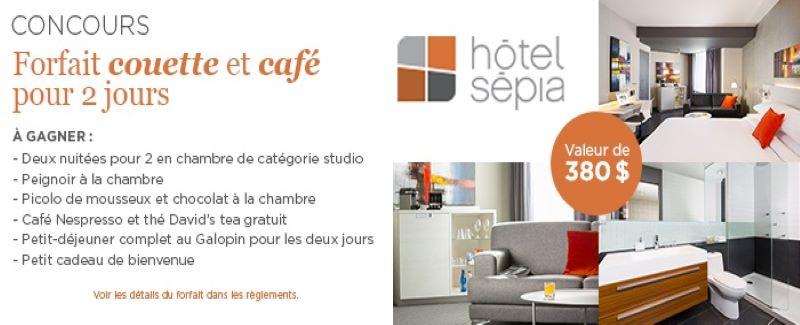 Concours Forfait couette et café à l'hôtel Sepia!