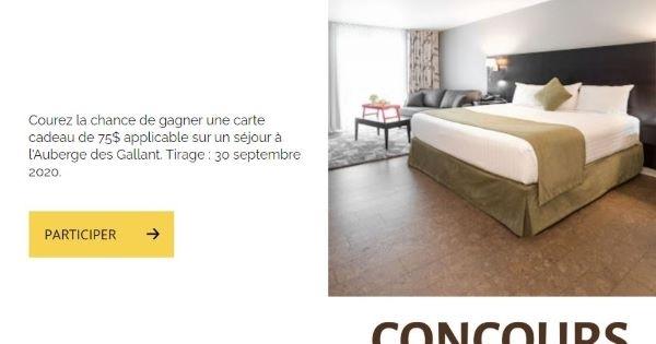 Concours Gagnez une carte cadeau de 75$ applicable sur un séjour à l'Auberge des Gallant!
