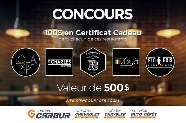 Concours Groupe Carbur - Autos & Camions fait tirer 5 certificats cadeaux de 100$ dans plusieurs restaurants de leur région!