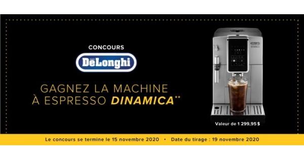 Concours GAGNEZ UNE MACHINE À ESPRESSO ET À CAPPUCCINO AUTOMATIQUE DELONGHI DINAMICA!