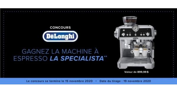 Concours GAGNEZ UNE MACHINE À ESPRESSO ET À CAPPUCCINO DELONGHI LA SPECIALISTA!