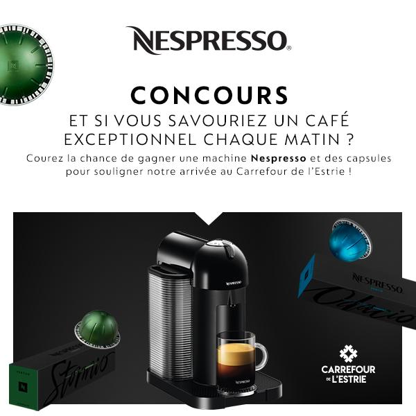 Concours Gagnez une machine Nespresso Vertuo à tête ronde noire!