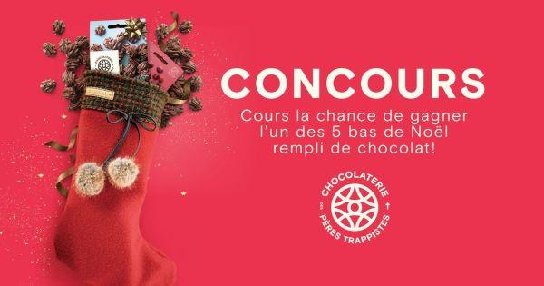 Concours Gagnez l'un des 5 bas de Noël Bilodeau Canada rempli de chocolat des Pères Trappistes!