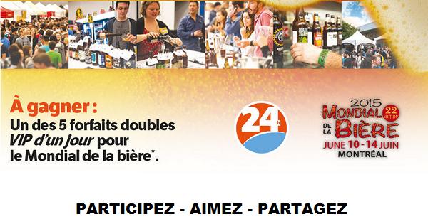 Concours Gagnez 2 accès V.I.P.  pour le Mondial de la bière 2015 du 10 au 14 juin