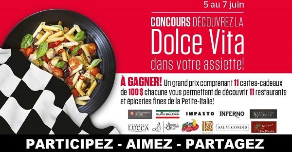 Concours DÉCOUVREZ LA DOLCE VITA DANS VOTRE ASSIETTE!
