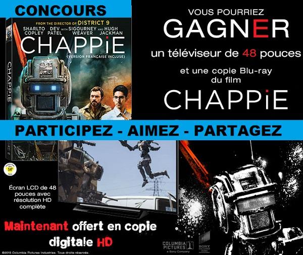 Concours gagner un téléviseur de 48 pouces et une copie Blu-ray du film Chappie