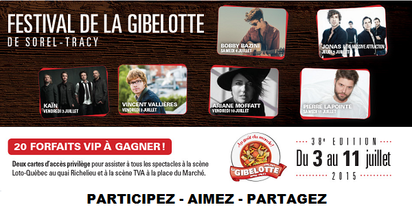 Concours Gagnez vos passes Privilèges pour le festival de la Gibelote