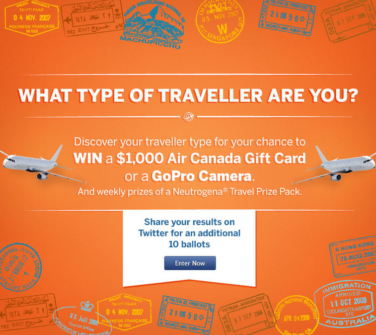 Concours Win 1,000$ Air Canada gift card