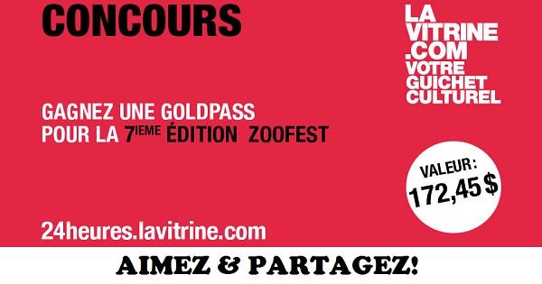 Concours Gagnez une GoldPass pour la 7e édition Zoofest!