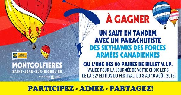 Concours Gagnez un saut en tandem avec un parachutiste des Skyhawks des Forces Armées Canadiennes!