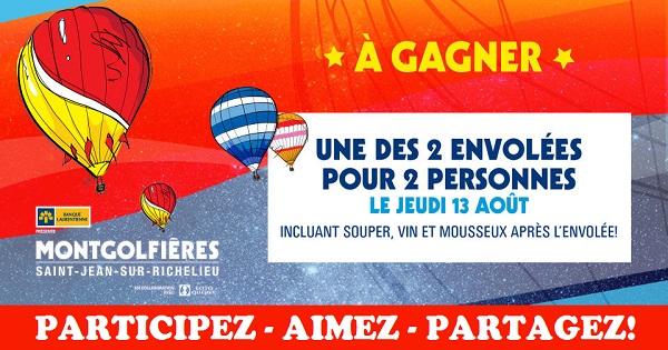 Concours Gagnez une envolée pour 2 personnes en montgolfière!