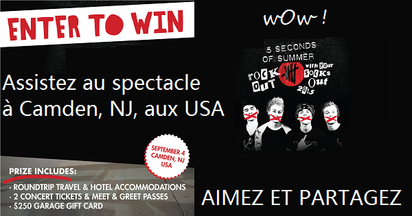 Concours Assistez au spectacle de 5 Seconds of Summer au New Jersey