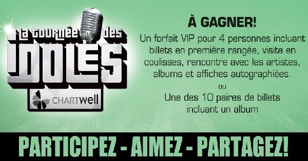 Concours Gagnez un forfait VIP pour 4 personnes pour assister au spectacle La Tournée des Idoles!