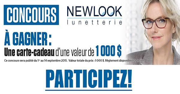 Concours Gagnez une carte-cadeau de Lunetterie New Look de 1000$!