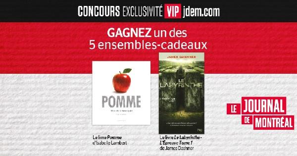 Concours Gagnez un ensemble comprenant le livre Pomme d'Isabelle Lambert et le livre L'Épreuve Tome 1 de James Dashner!