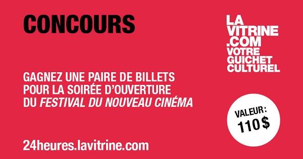 Concours Gagnez une paire de billets pour la soirée d'ouverture du Festival du Nouveau Cinéma!