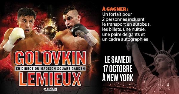 Concours Gagnez un forfait pour 2 personnes pour assister au combat de David Lemieux au Madison Square Garden de New York!