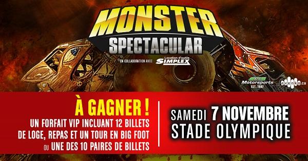 Concours Gagnez un forfait VIP pour assister au Monster Spectacular le samedi 7 novembre 2015!
