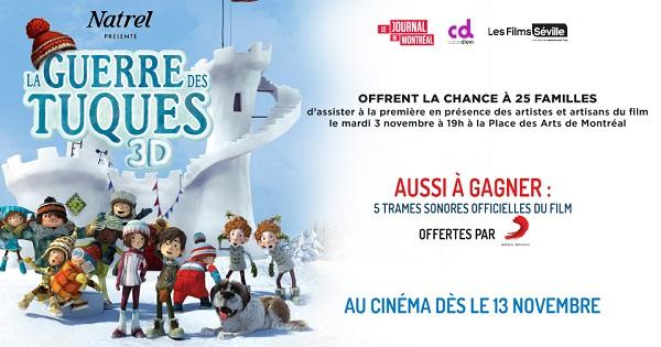 Concours Gagnez l'un des 25 laissez-passer pour voir première du film La Guerre des Tuques 3D!