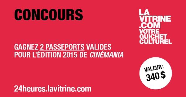 Concours Gagnez 2 passeports valide pour l'édition 2015 du festival Cinémania!