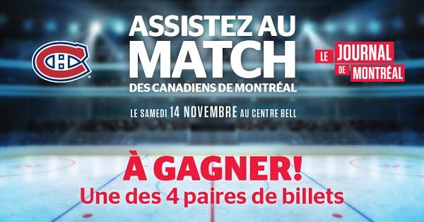 Concours Gagnez une paire de billets pour assister au match des Canadiens de Montréal le samedi 14 novembre 2015!