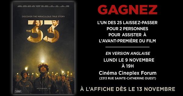 Concours Gagnez 2 tickets pour assister à la première du film THE 33!