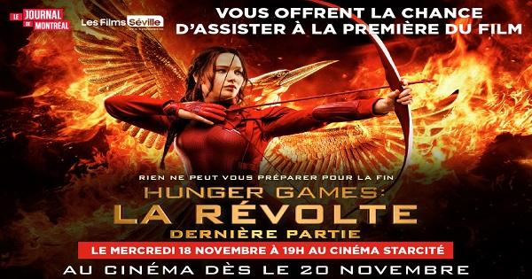 Concours Gagnez l'un des 25 LAISSEZ-PASSER DOUBLES pour assister à la PREMIÈRE du film Hunger Games: La révolte!