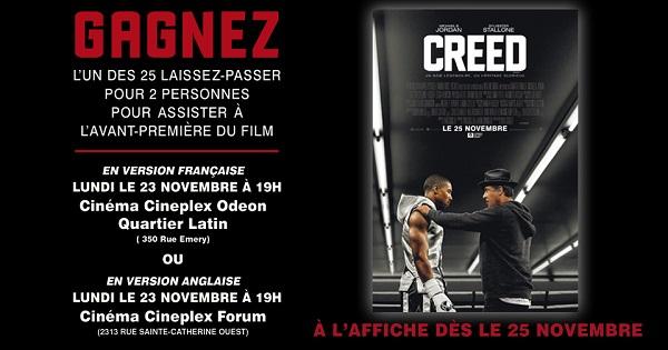 Concours Gagnez deux tickets pour assister à la première du film CREED!