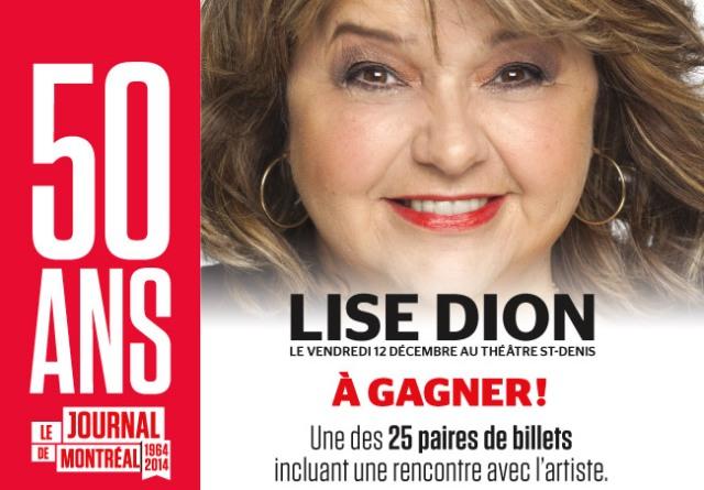 Concours Gagnez une paire de billets VIP pour le spectacle de Lise Dion