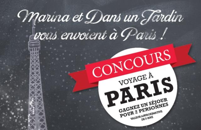 Concours Marina et Dans un Jardin vous envoient à Paris !