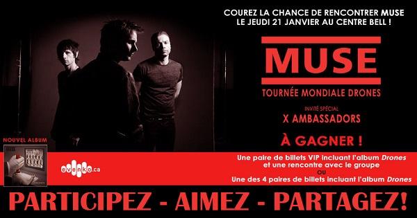 Concours Gagnez une paire de billets VIP pour assister au spectacle de Muse!