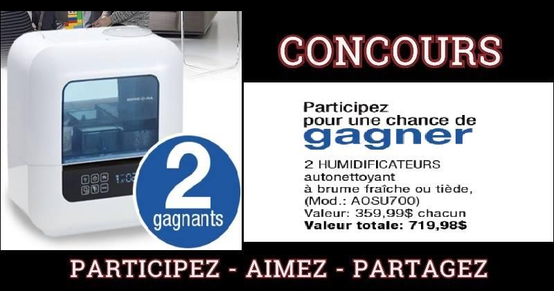 Concours Gagnez l'un des deux humidificateurs Autonettoyant de BONECO!