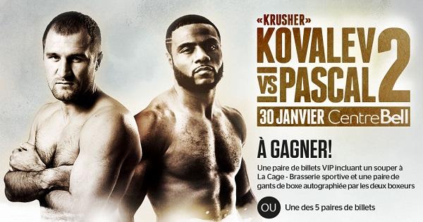 Concours Boxe Kovalev vs Pascal 2!