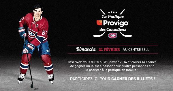 Concours Gagnez un laissez-passer pour 4 personnes afin d'assister à une pratique des Canadiens!