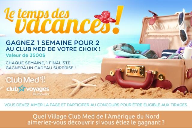 Concours Une semaine pour deux au Club Med de votre choix!