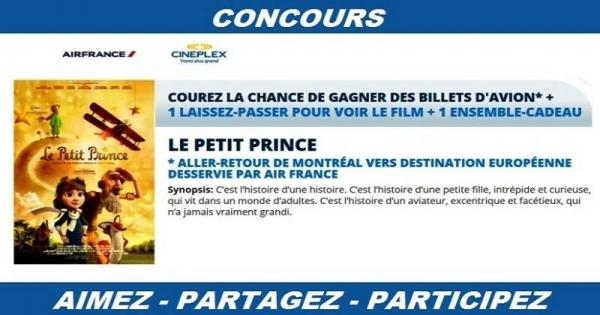 concours gagnez des billets d 39 avion vers l 39 europe ou un ensemble cadeau du film le petit prince. Black Bedroom Furniture Sets. Home Design Ideas