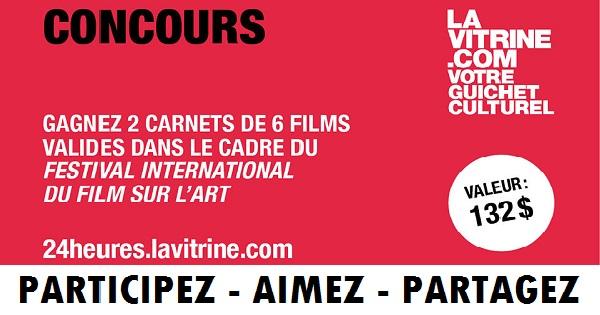 Concours Gagnez 2 carnets de 6 films valides dans le cadre du Festival International du Film sur l'Art!