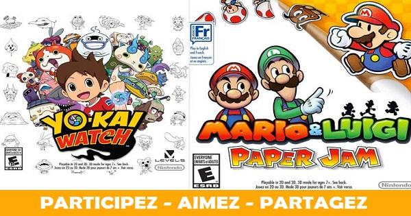 Concours Gagnez les jeux Mario & Luigi: Paper Jam et YO-KAI WATCH pour Nintendo 3DS!