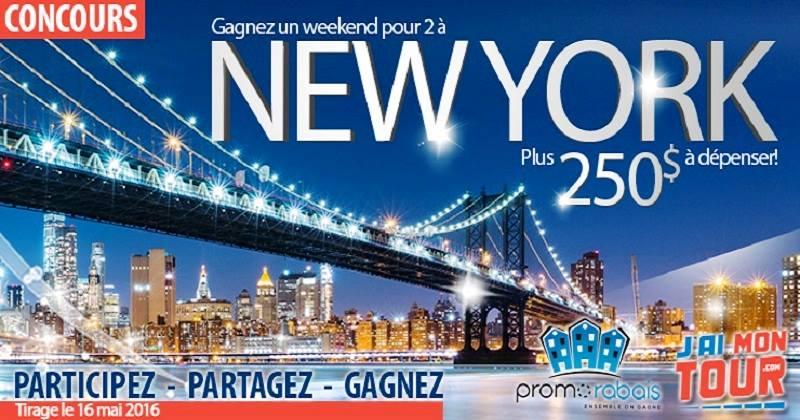 Concours Gagnez un weekend pour 2 à New York + 250$ à dépenser!
