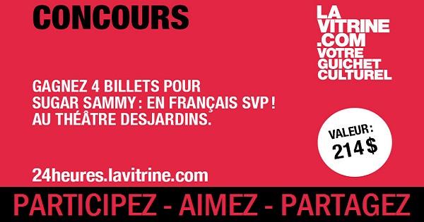 Concours Gagnez 4 billets pour Sugar Sammy: En Français SVP!