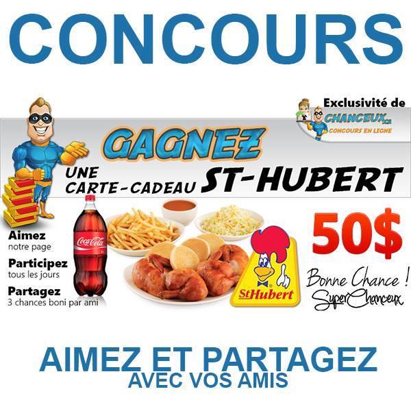 CONCOURS EXCLUSIF - Concours Gagnez une Carte Cadeau St-Hubert de 50$