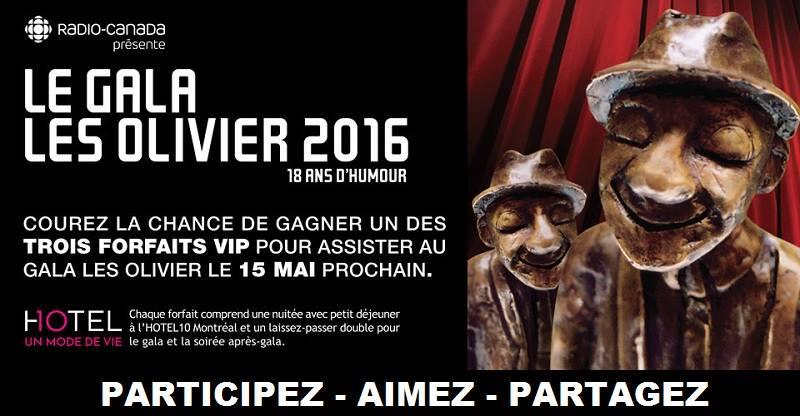 Concours Assistez au Gala Les OLIVIER!