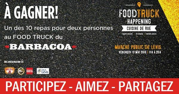 Concours Gagnez un des 10 repas pour deux personnes au Food Truck du Barbacoa!