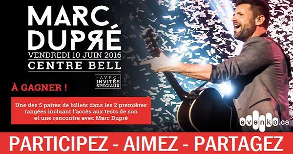 Concours Gagnez une paire de billets dans les 2 premières rangées pour le spectacle de Marc Dupré!