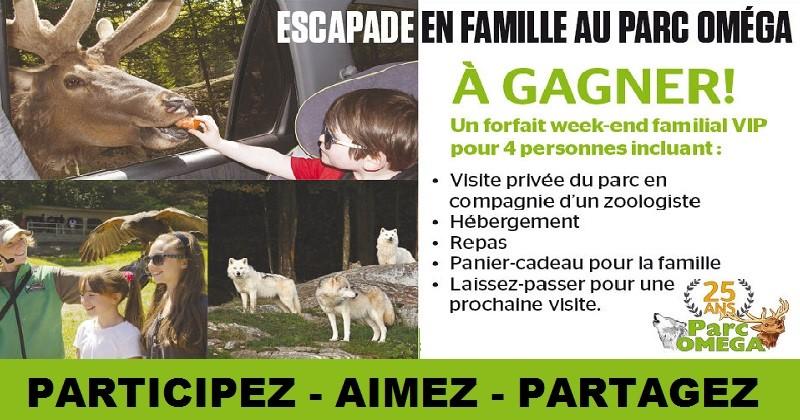 Concours Gagnez une escapade en famille au Parc Oméga!